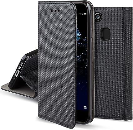 Moozy Coque a Rabat pour Huawei P10 Lite, Noir - Housse Étui Fin Smart Magnétique avec Porte-Cartes et Support