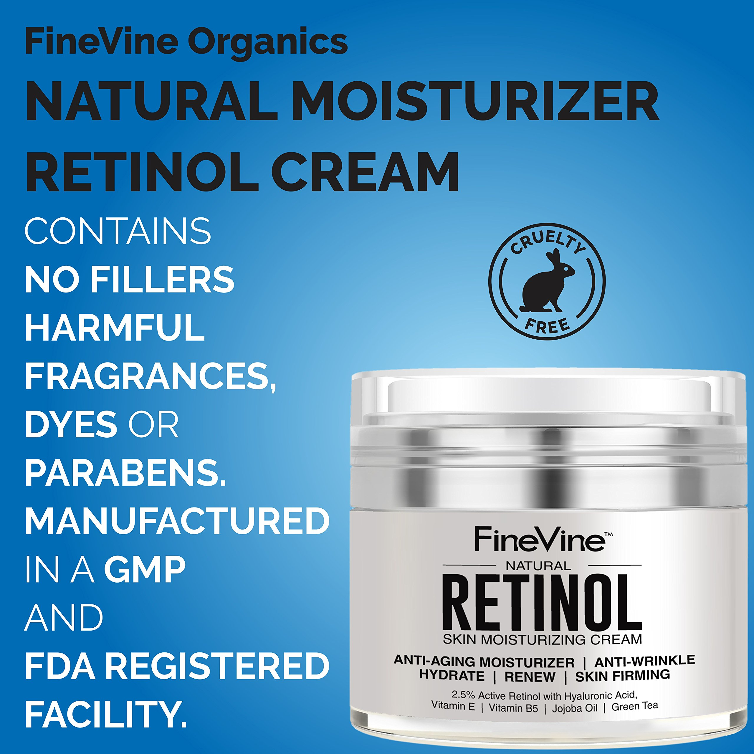 Retinol Moisturizer Cream for Face and Eye Area - Made in USA - with Hyaluronic Acid, Vitamin E - Best Day and Night Anti Aging Formula to Reduce Wrinkles, Fine Lines & Even Skin Tone. by FineVine (Image #9)