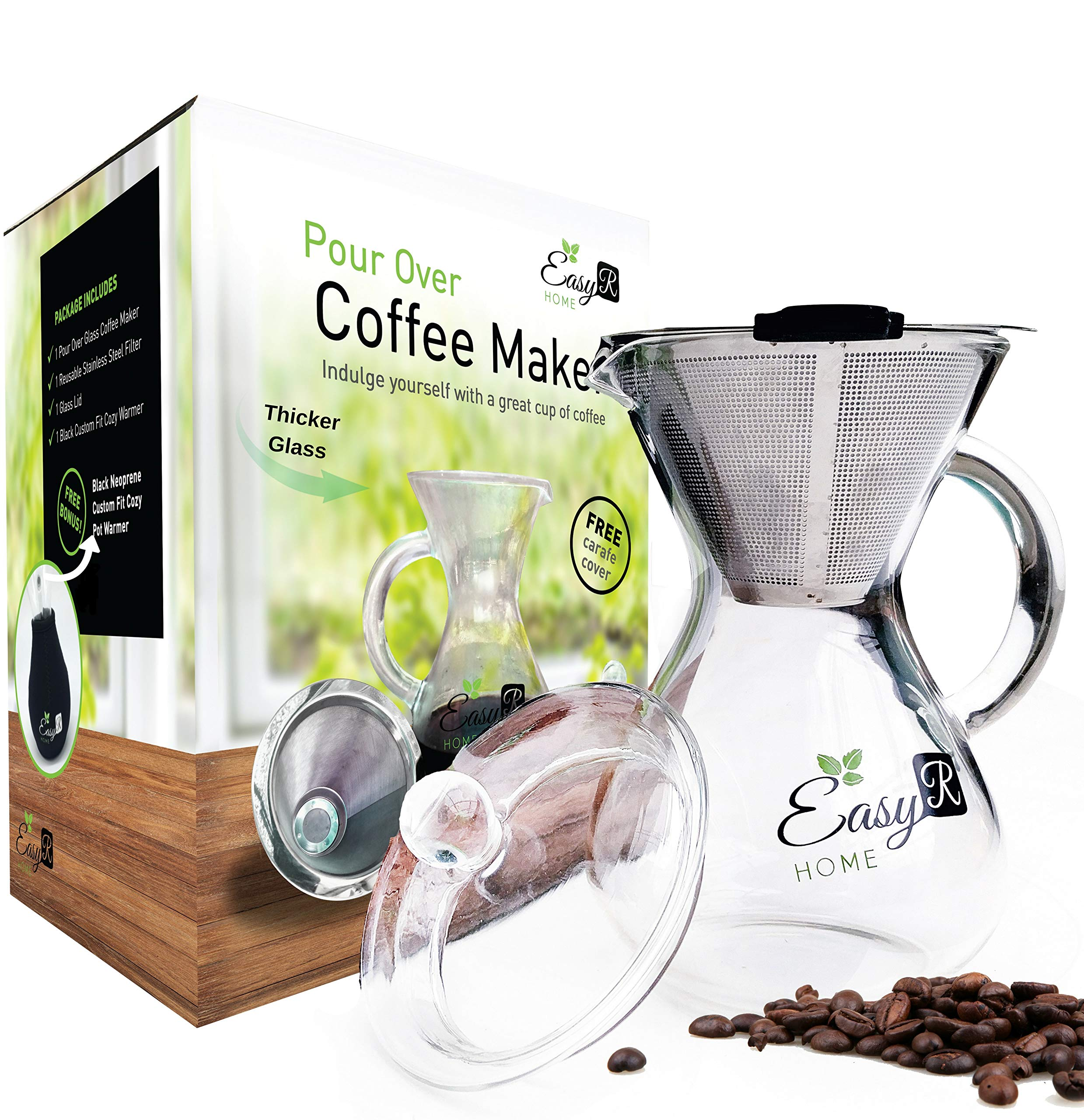 EasyR Home Pour Over Brewer - 14 oz Borosilicate Glass Personal Coffee Maker with Reusable Paperless Stainless Steel Filter/Dripper, Glass Lid and Free Carafe Warmer to Keep Coffee Hot by EasyR Home