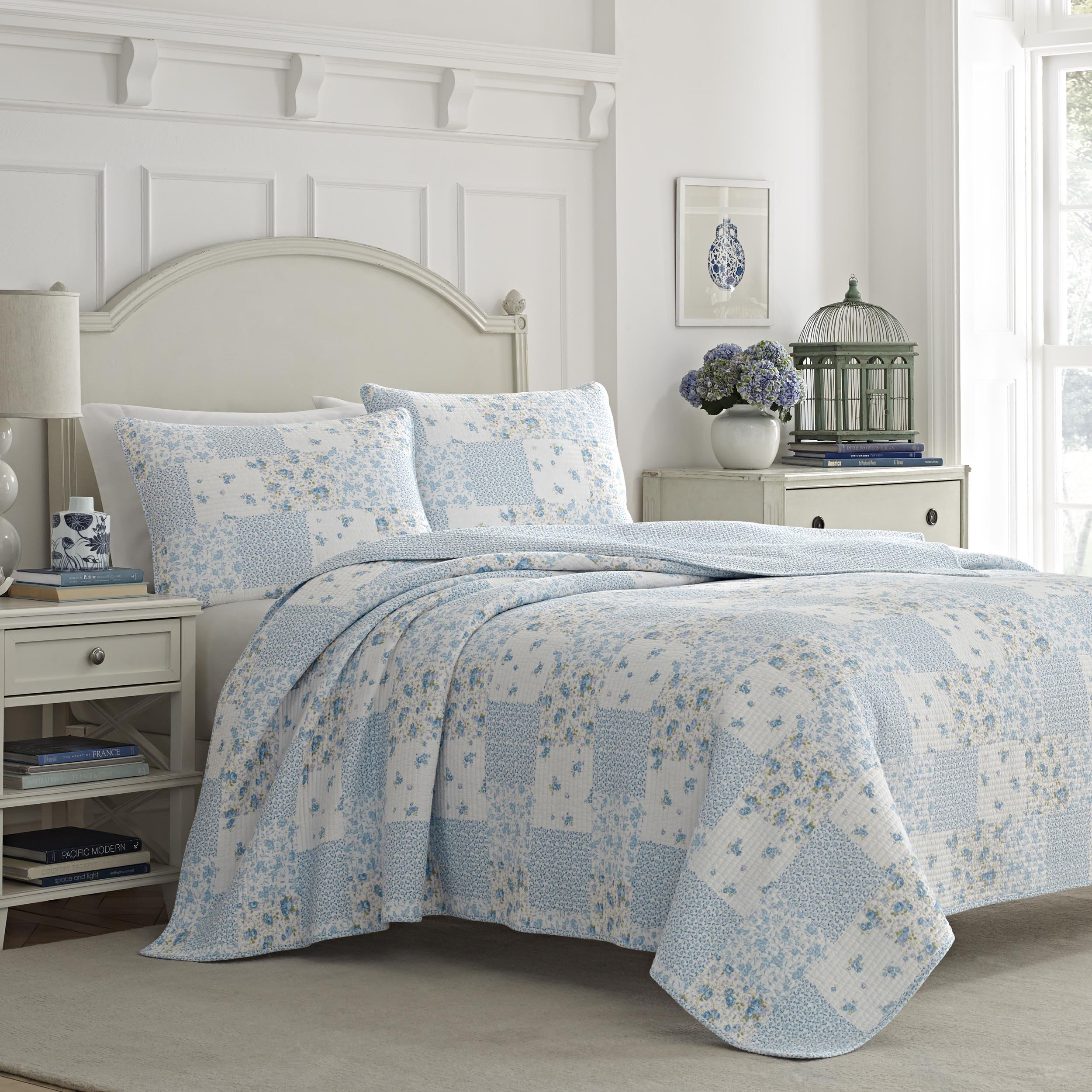 Laura Ashley Kenna Cotton Quilt Set, Full/Queen, Lt/Pastel Blue