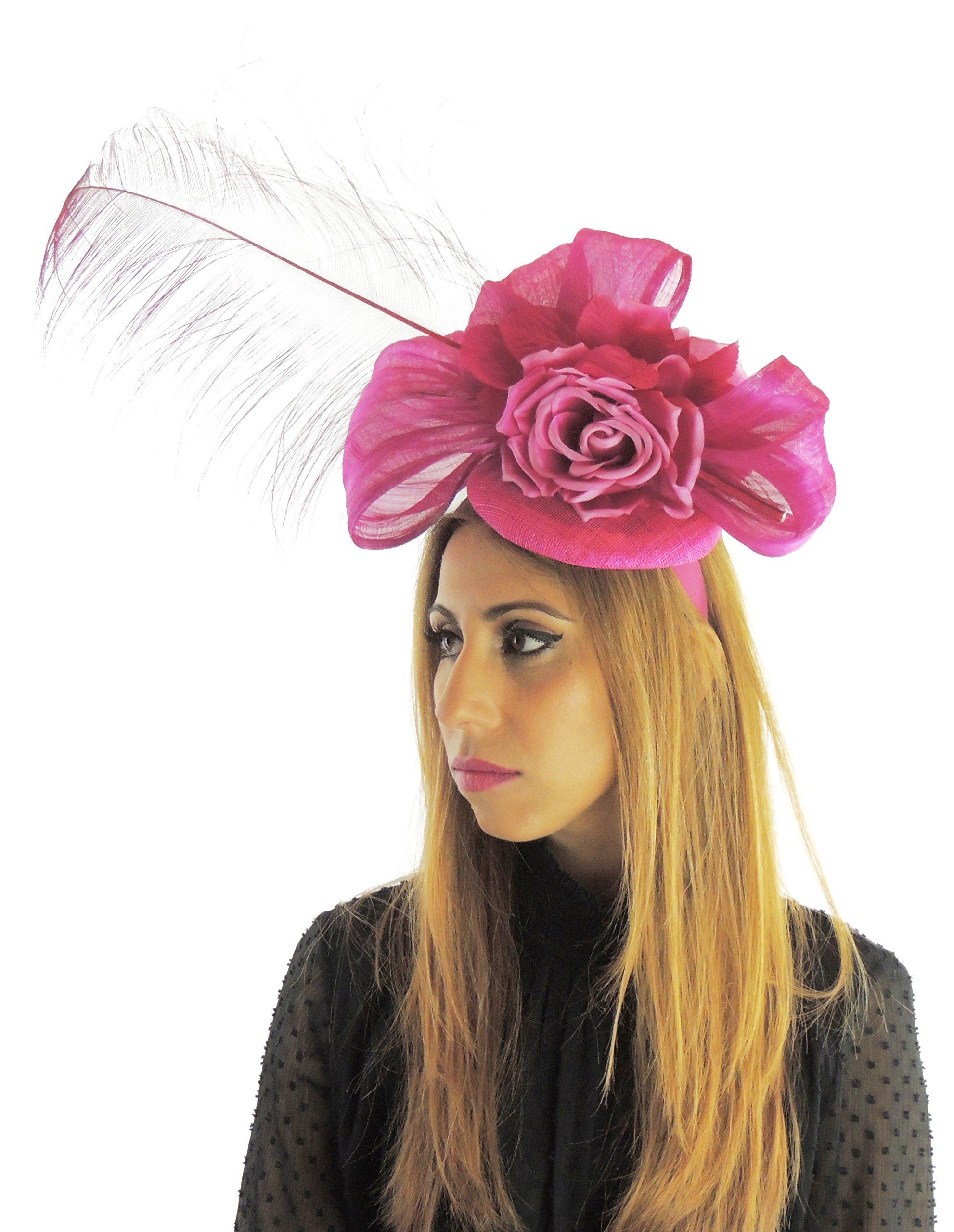 Hats By Cressida Silk Sinamay & Silk Flower Elegant Ladies Ascot Wedding Fascinator Hat Cerise Pink by Hats By Cressida