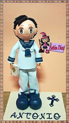 20b6deca485 Fofucha mi primera comunión niño marinero personalizado 35 cms ...