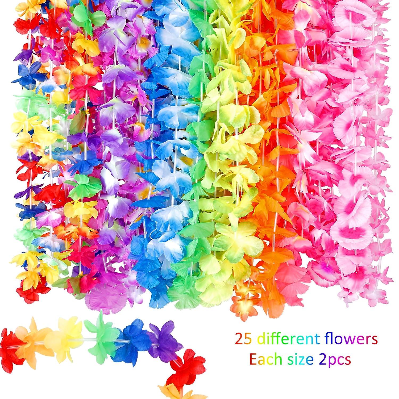 07bd46ebdc70 Amazon.com: 60 Counts Tropical Hawaiian Luau Flower Lei for Fancy Dress  Party Beach Fun: Health & Personal Care