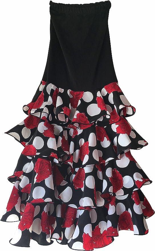 Creacions Hilary Falda Flamenco Danza Sévillane mujer Lujo negro ...