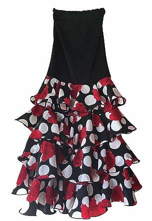 63aac511eb Creacions Hilary Falda Flamenco Danza Sévillane mujer Lujo negro con rosas  y volantes (Talla M