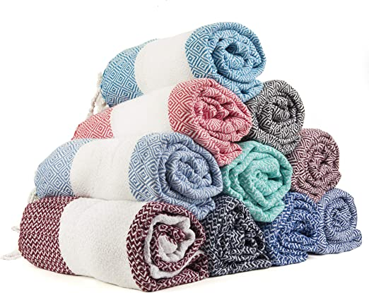 XXL Turkish Cotton Bath Beach Hammam Turkish Towel Sets Peshtemal Throw Fouta Blanket Set Luxuries Towels Set of 6 Gute