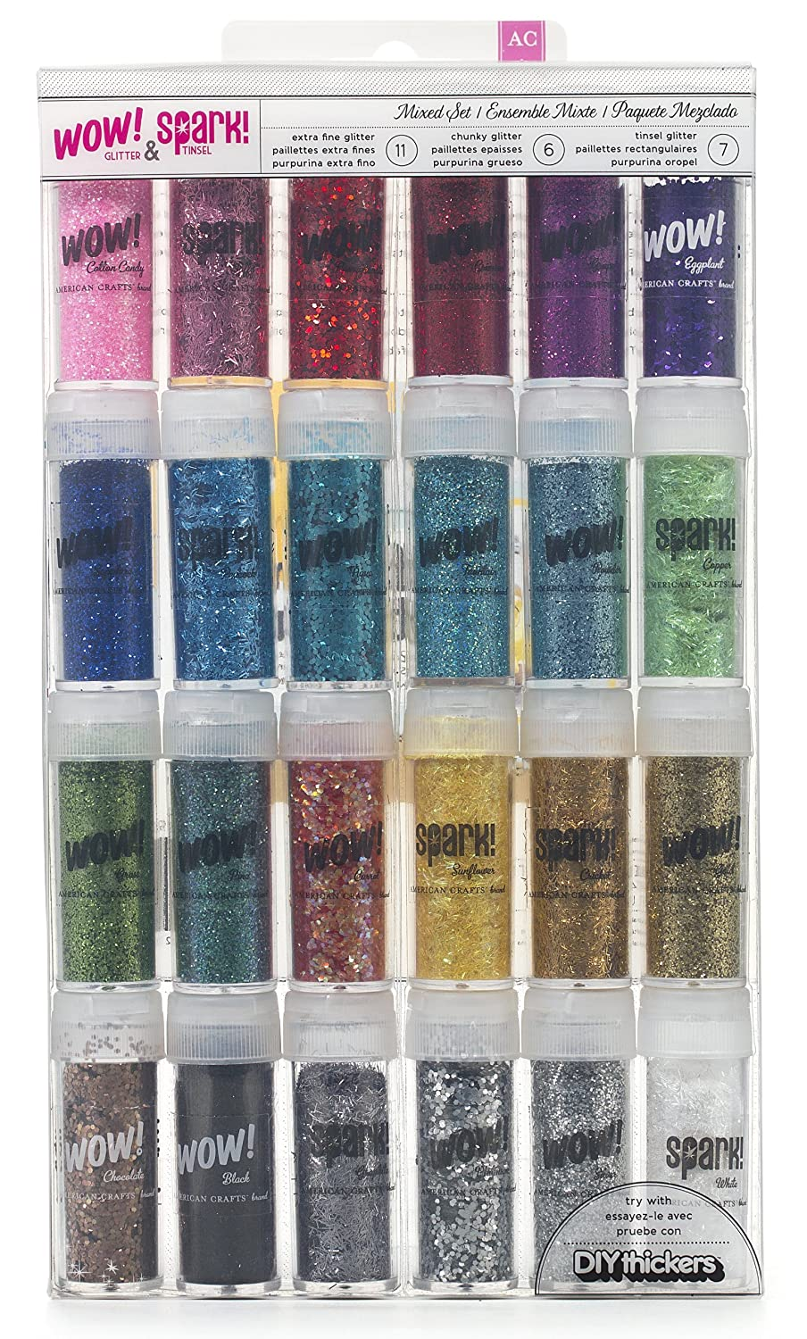 Wow! & Spark! Mixed Glitter Pack by American Crafts | 24-pack | Includes 11 bottles extra fine glitter, 6 bottles chunky glitter and 7 bottles tinsel glitter in various colors Inc. 27393