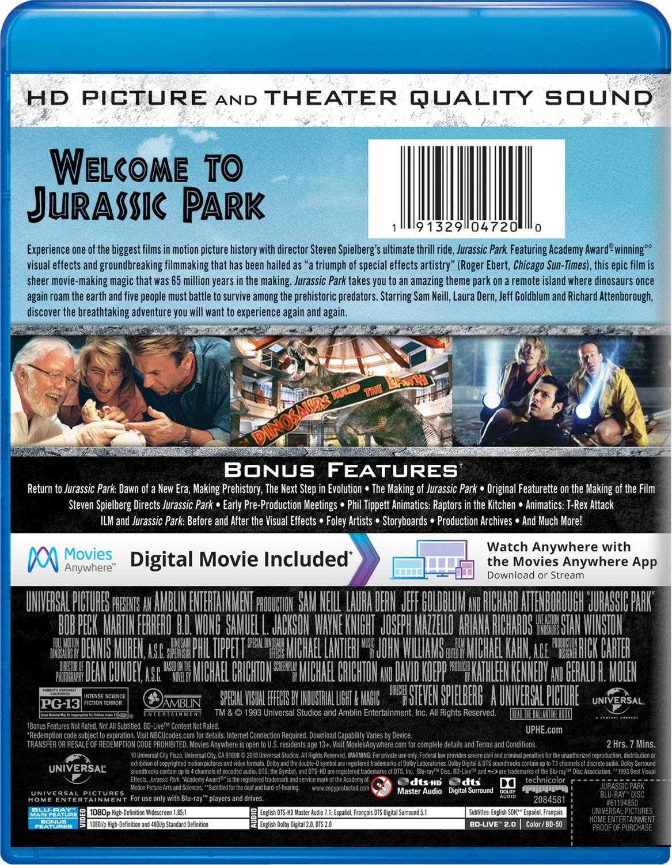 Amazon.com: Jurassic Park [Blu-ray]: Sam Neill, Laura Dern, Jeff ...