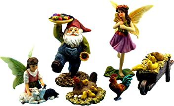 Pretmanns Fairy Garden Fairies Accessories – Miniature Gnome & Farm Animals – 6 Piece Set – Part of The Fairy Farm Collection