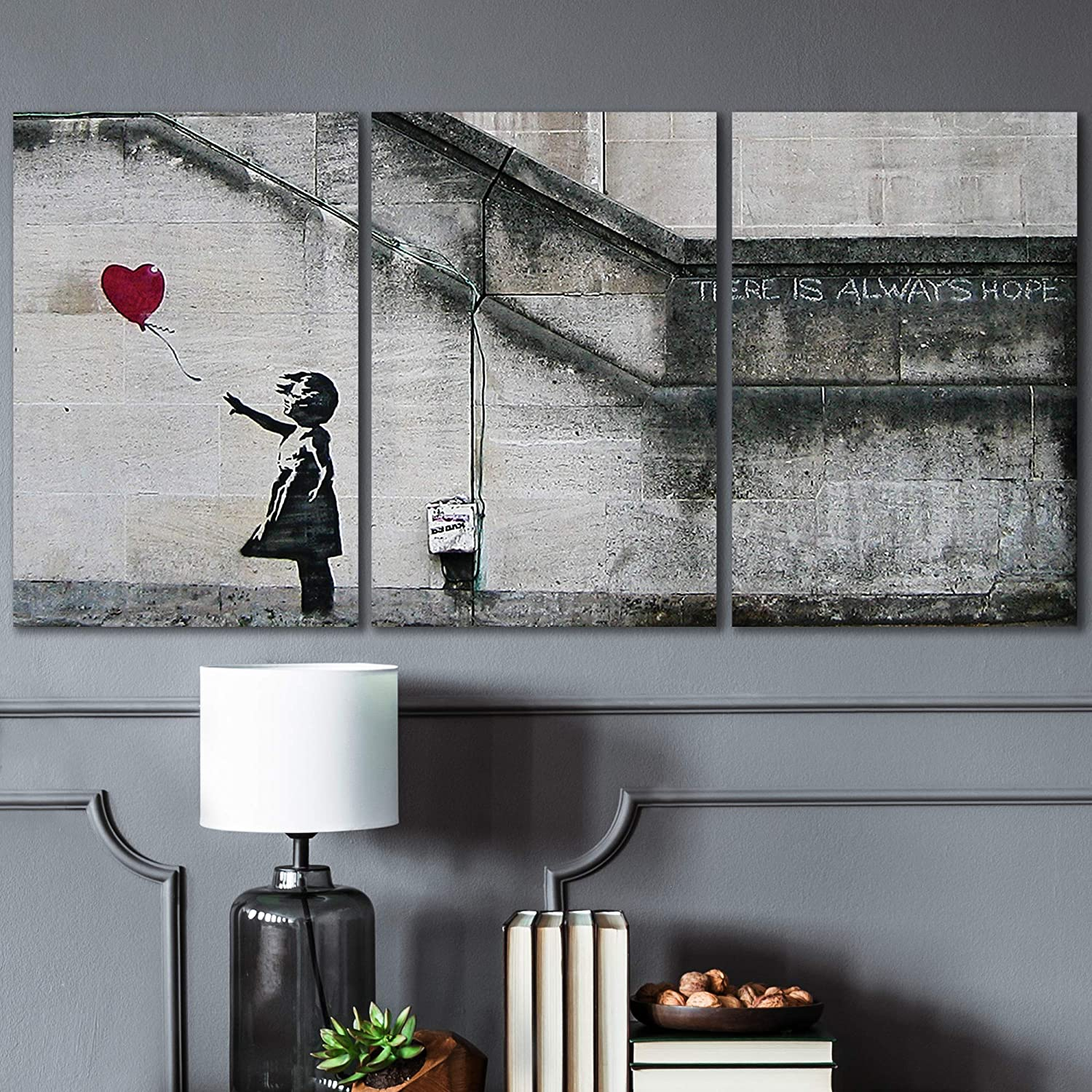 Amazon Com Wall26 3 Piece Canvas Wall Art There Is Always Hope Girl And Red Heart Balloon Street Art Guerilla Modern Home Art Stretched And Framed Ready To Hang