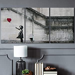 wall26 - 3 Piece Canvas Wall Art - There is Always Hope - Girl and Red Heart Balloon - Street Art - Guerilla - Modern Home Art Stretched and Framed Ready to Hang - 16