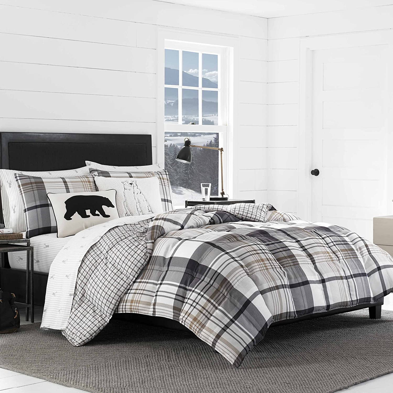 Eddie Bauer Normandy Plaid Comforter Set, Full/Queen, Black