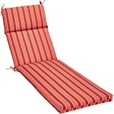 AmazonBasics Outdoor Lounger Patio Cushion - Red Stripe
