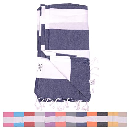 efed53cc99 ... The Riviera Towel Company Biarritz Navy Blue Striped Turkish Towel for  Bath   Beach - Swimming ...