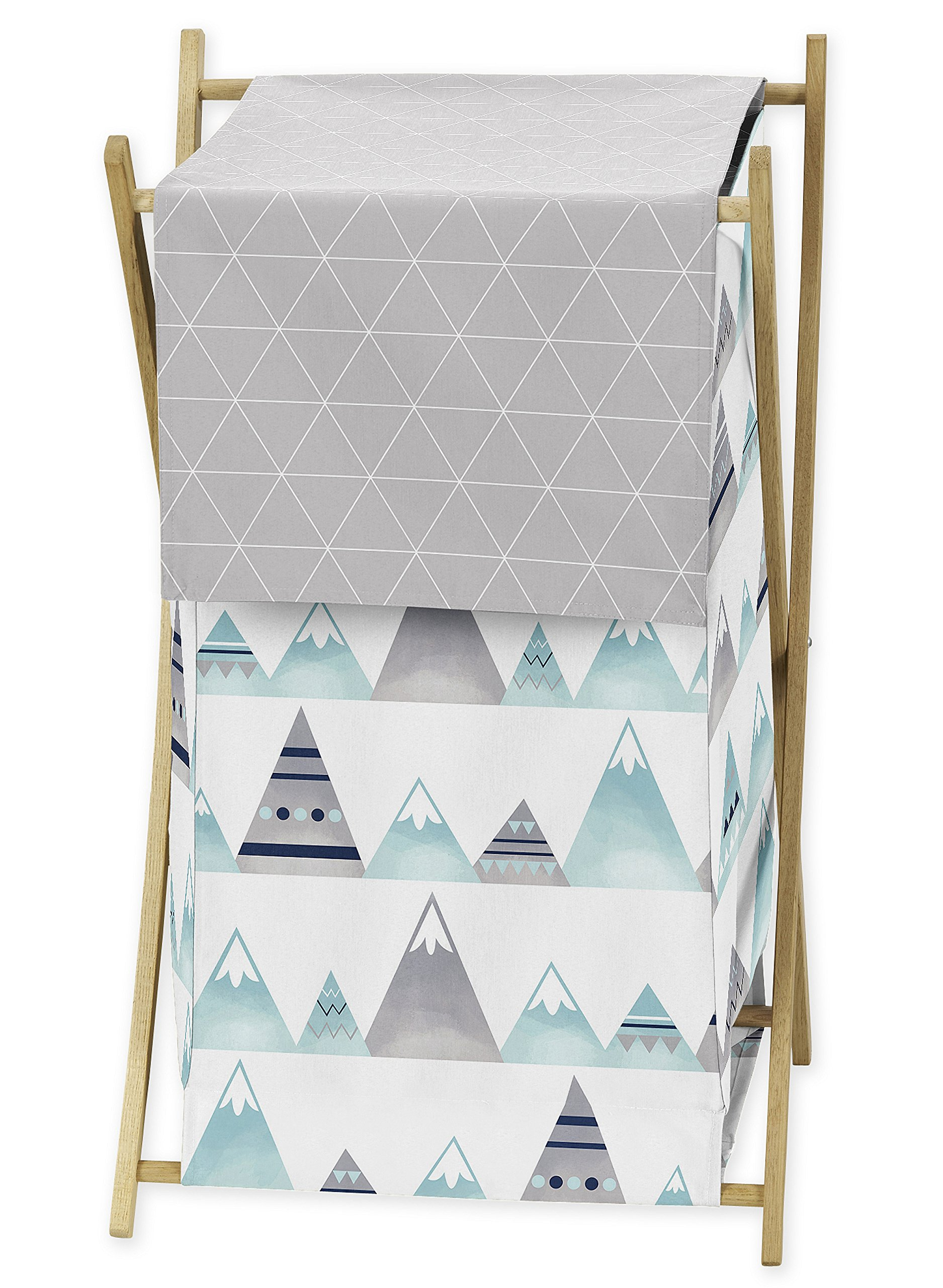 Sweet Jojo Designs Navy Blue, Aqua and Grey Aztec Baby Kid Clothes Laundry Hamper for Mountains Collection by