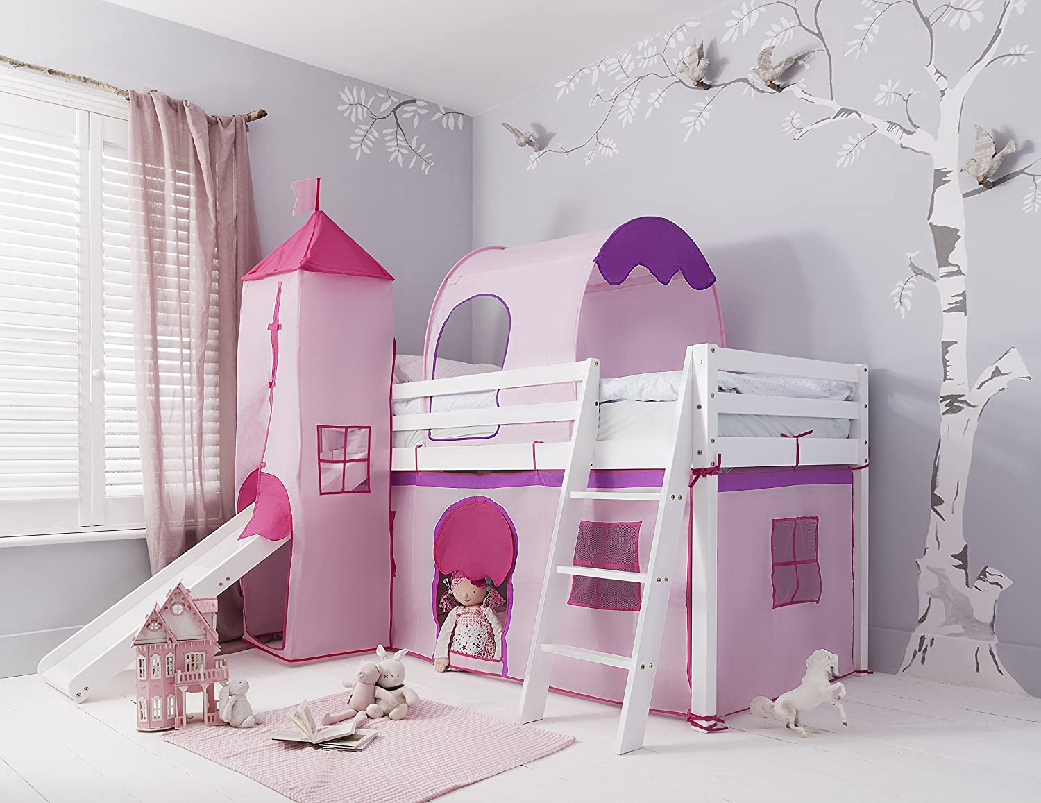 Cabin Bed with Slide Kids Midsleeper in Pink Hideaway with Tent, Tunnel, Tower & Tidy Noa & Nani (White) Noa and Nani