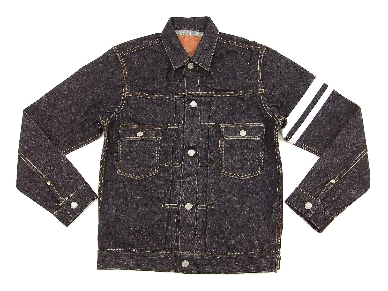 ec11efea8a Momotaro Jeans 2105SP Men s Slim Fit Rinsed Denim Trucker Jacket With  Stripe at Amazon Men s Clothing store