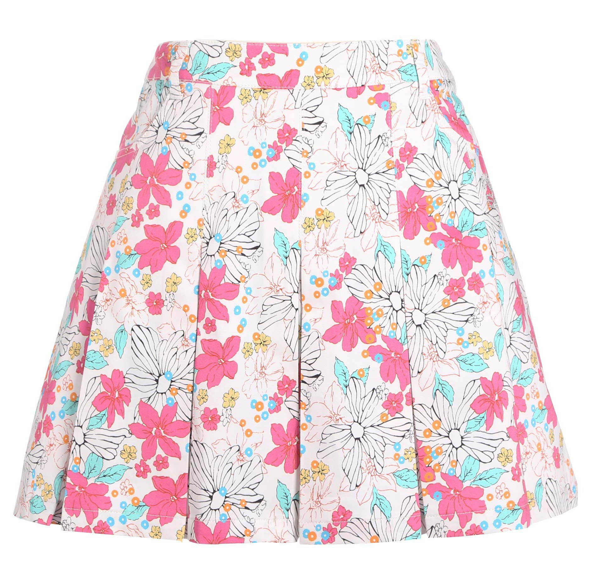 SVG Women's Floral Print A-line Golf Skorts Pleated Cotton Casual Skirt Pink XS