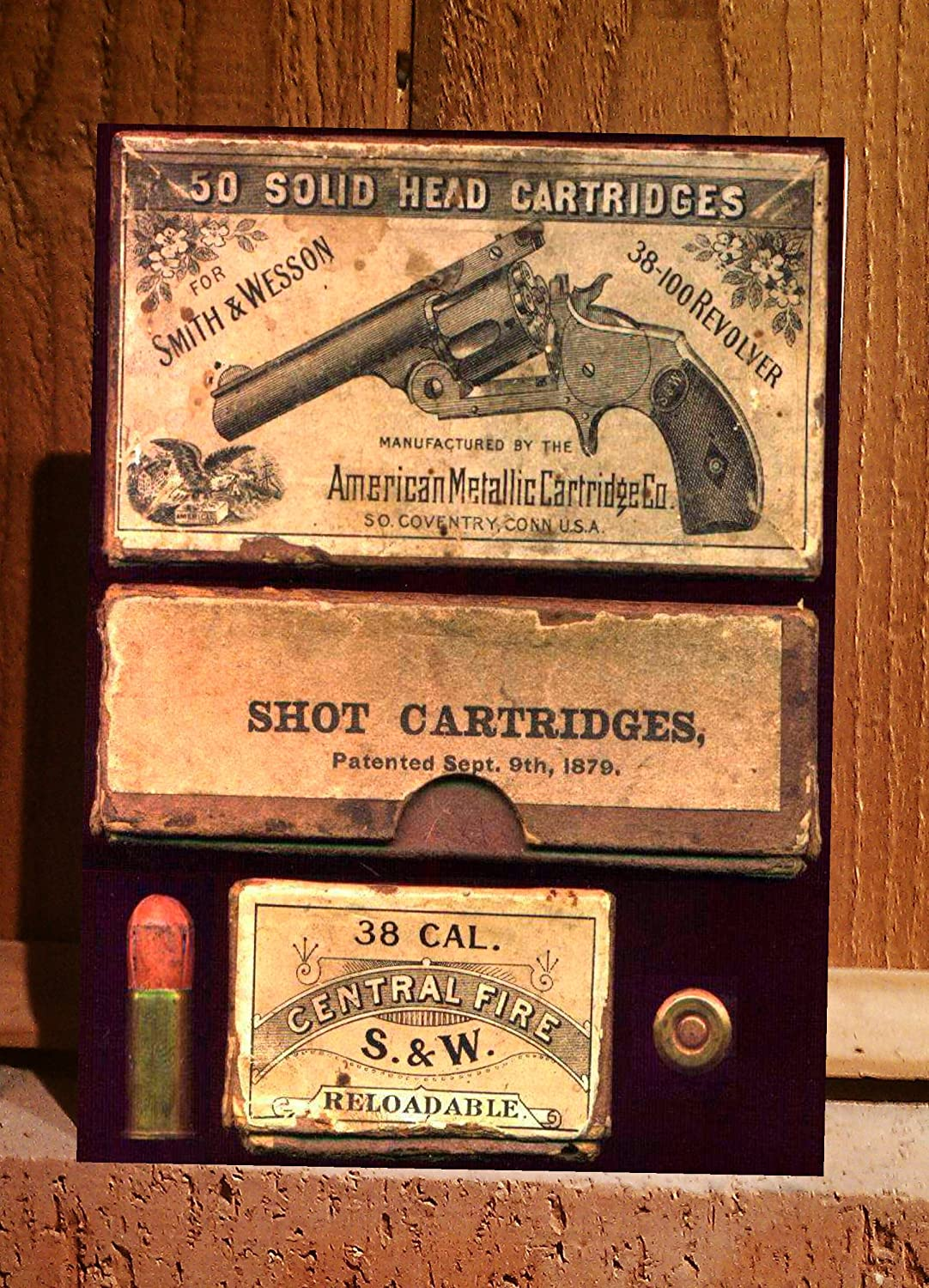 Amazon.com: Reproduction of Vintage Ammo Box for Smith & Wesson 38 ...
