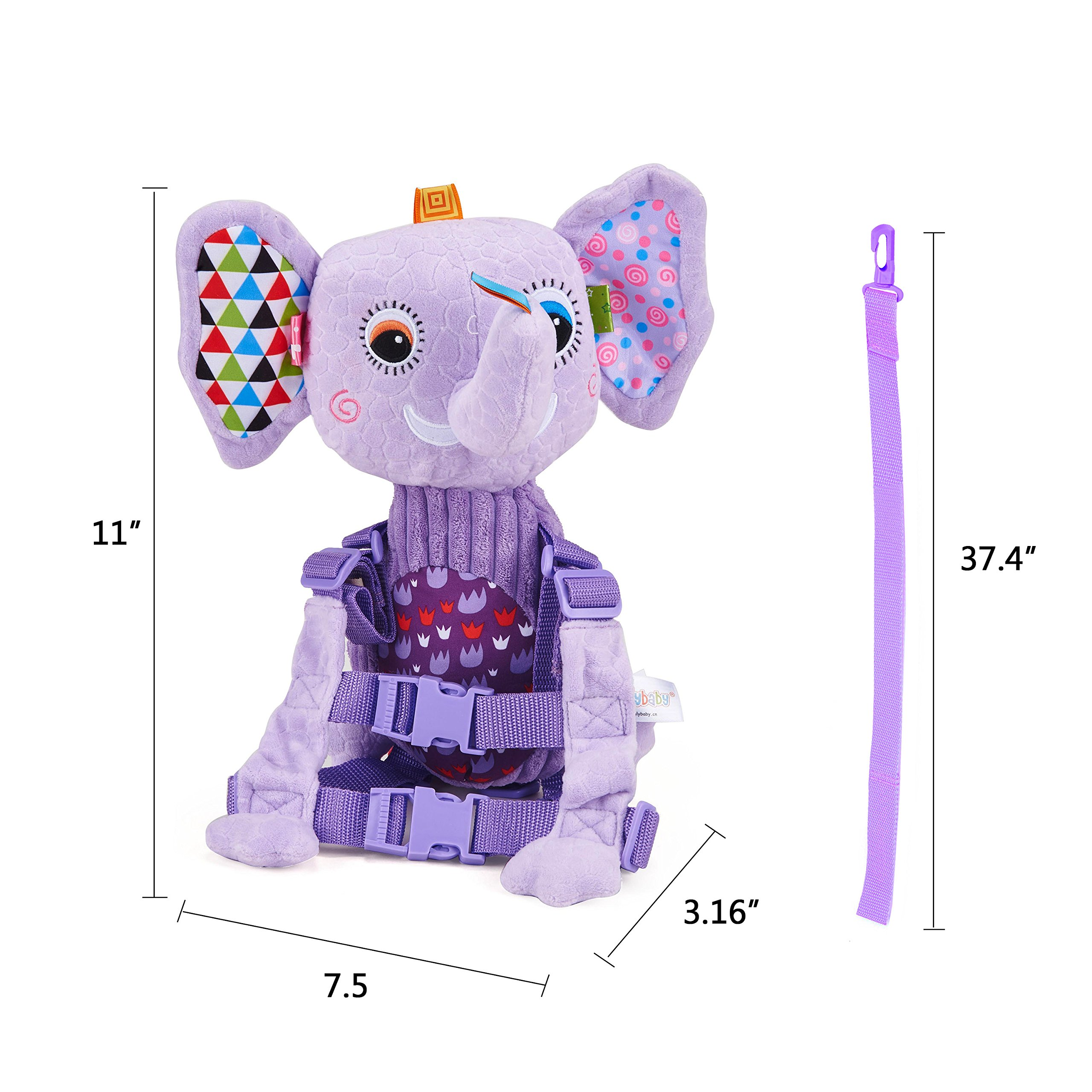 Mufly Toddler Safety Harness Backpack Children's Walking Leash Strap and Name Label -Multicolor (purple) by Mufly (Image #7)