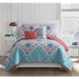 VCNY Home Windsor 4 Piece Reversible Quilt Cover Set, Twin/Twin XL, Multicolor