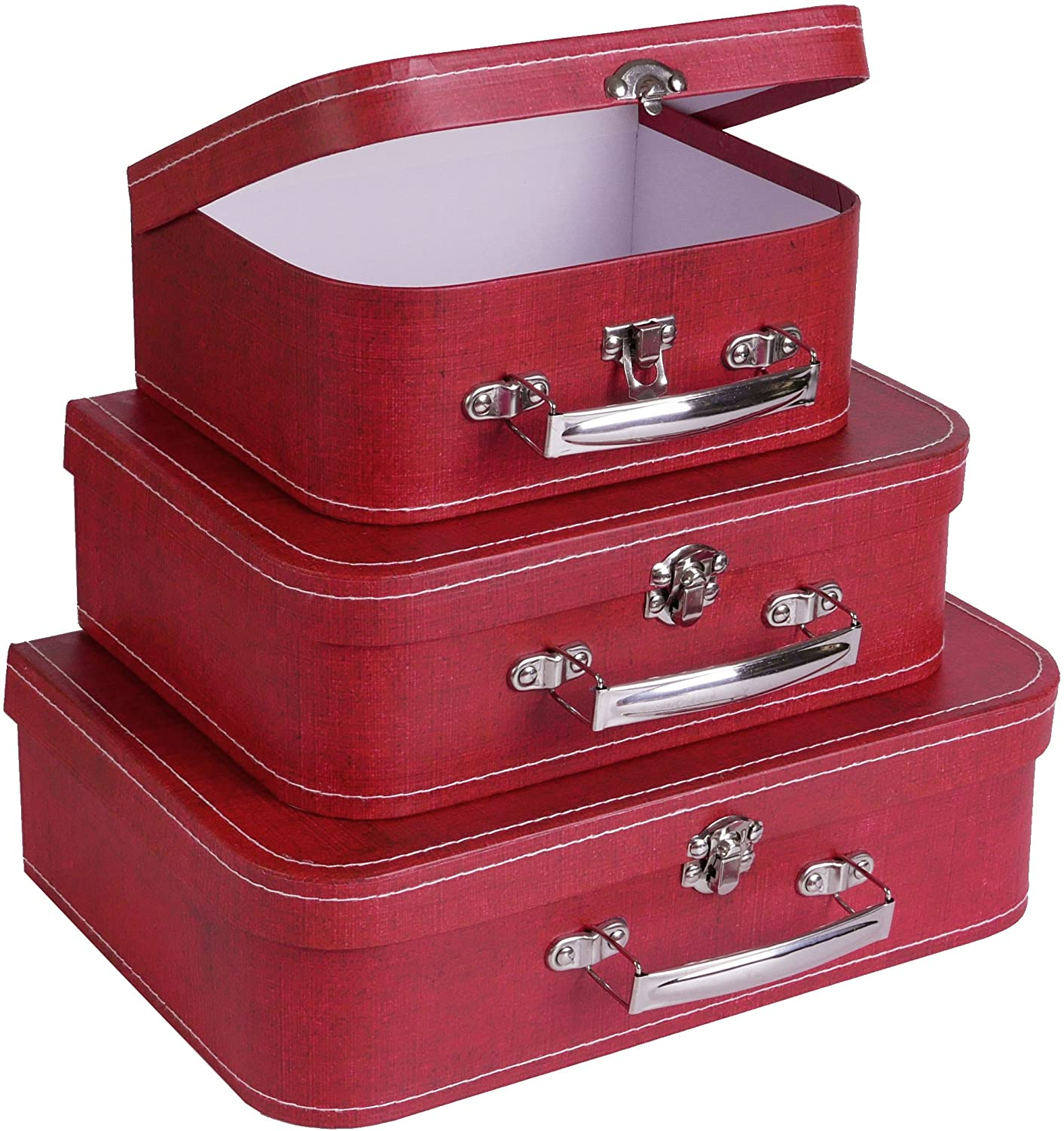 SLPR Cardboard Suitcase Boxes with Handle (Set of 3, Distressed Red) | Paperboard Boxes with Lids for Wedding Decoration Birthday Parties