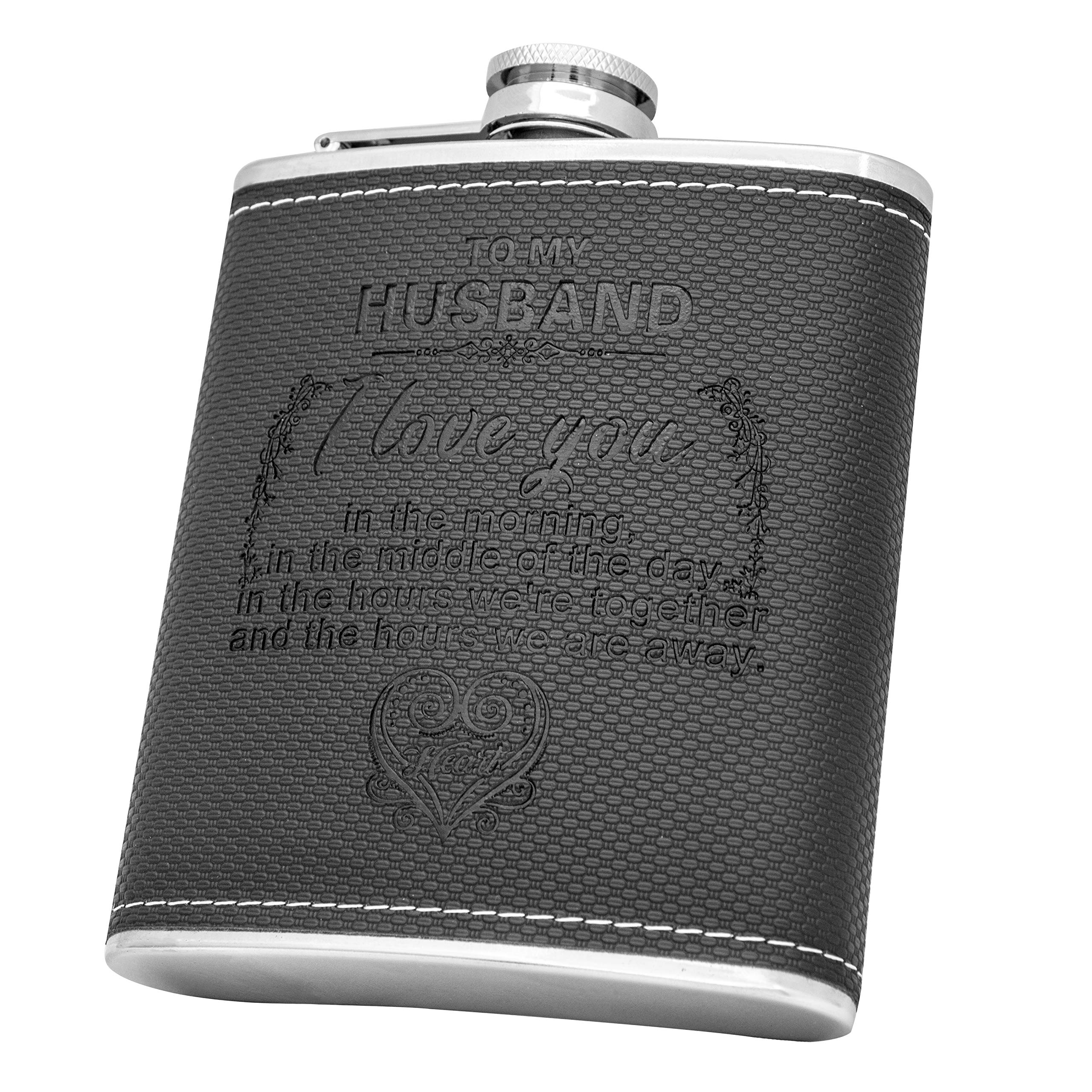 Personalized Flask Set- Engraved Custom Hip Flasks, Husband Gift- Stainless Steel with Leather Flask Gifts For Men, Wedding Favor Customized Wedding, Boyfriend Man Hip Gift Set (Black-For Husband)