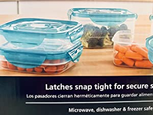 Storage Containers with Latching Lids, 12 Pieces which includes Microwave Vent on Lids, Latches Snap Tight for Secure Storage, Microwave, Dishwasher, and Freezer Safe.