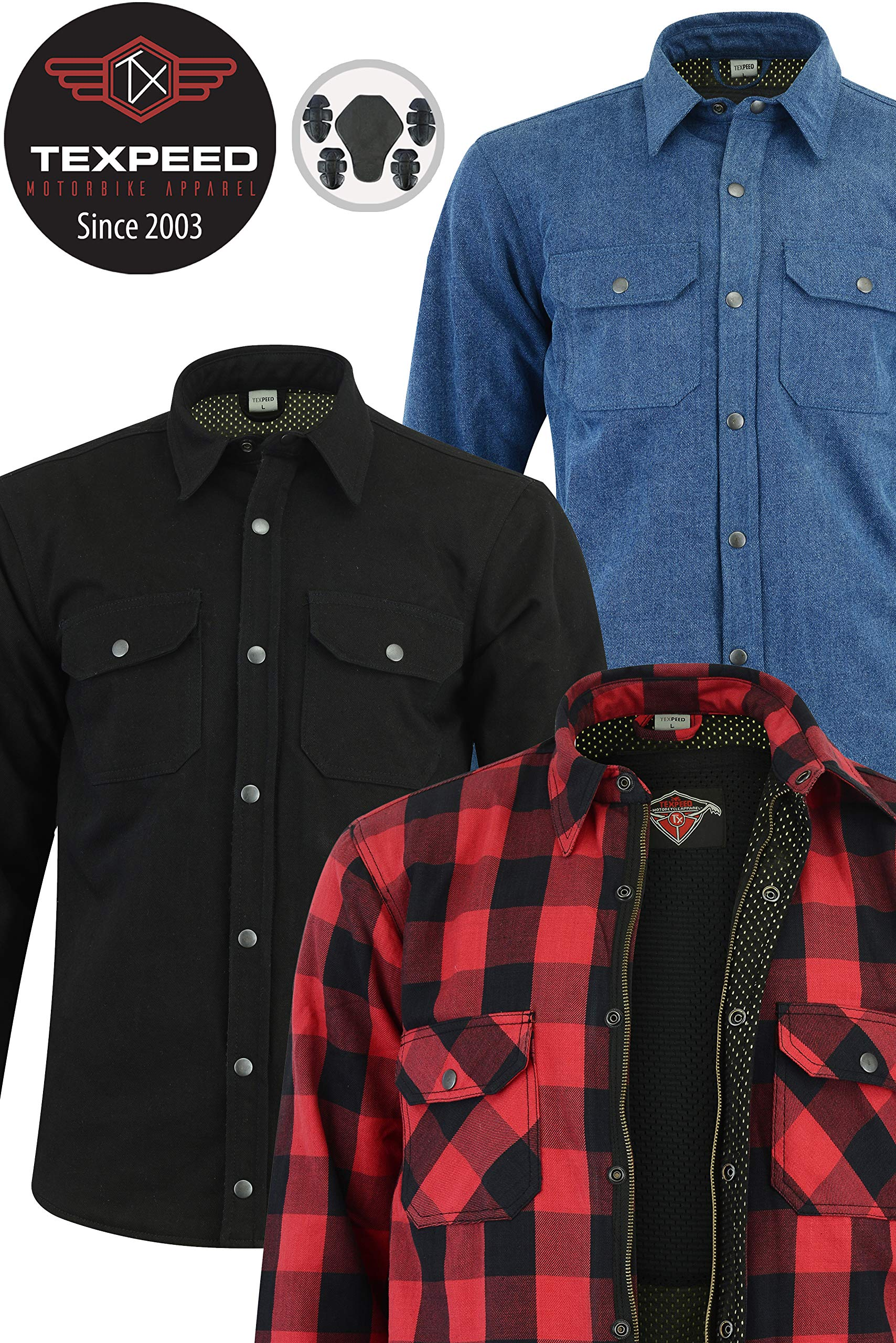 Bikers Gear Australia Kevlar Lined Motorcycle Cruiser Flannel Shirt with CE1621-1 Removable Armour Black//White Size XL