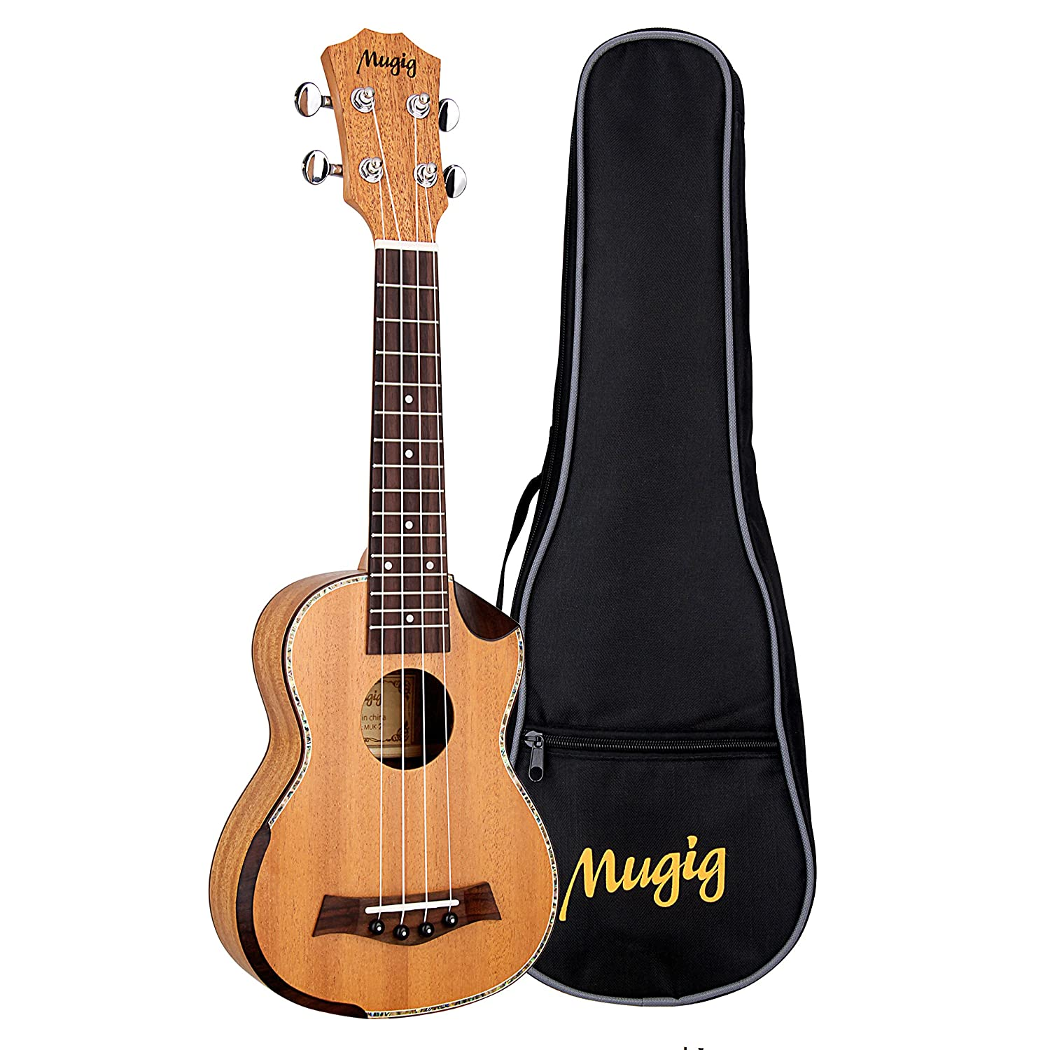 Mugig 21inch Soprano Ukulele Mahogany Body Rosewood Fingerboard Cutaway Design 4 Strings Instrument Italian Aquila Nylon Strings with carrying bag(21 inch)