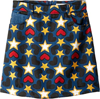 4e31aa8422 Stella McCartney Kids Girl's Heart Star Printed Denim Skirt (Little  Kids/Big Kids)