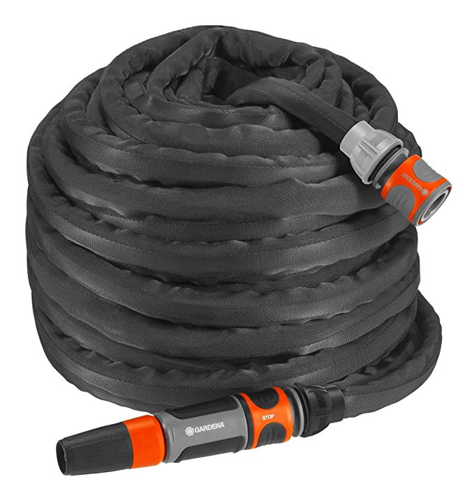 GARDENA Textilschlauch Liano Set 30m: flexibler und robuster Gartenschlauch aus Textilgewebe, Schlauch ideal für Balkon und T
