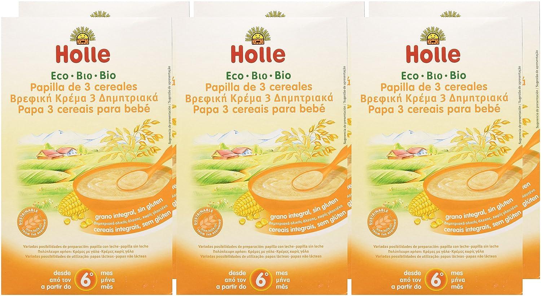 Holle Papilla 3 Cereales (+6 meses) SIN GLUTEN - Paquete de 6 x 250 gr - Total: 1500 gr: Amazon.es: Alimentación y bebidas