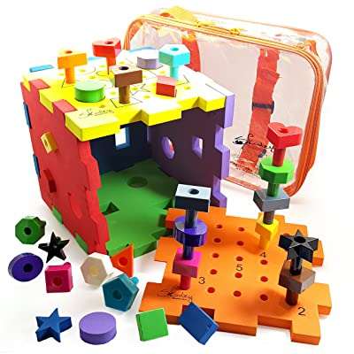 Skoolzy Shapes Puzzles for Toddlers - Educational Color Matching & Shape Sorter Montessori Toys for Toddlers, Preschoolers and Occupational - Peg Board Fine Motor Skills Learning Toy: Toys & Games [5Bkhe0905464]