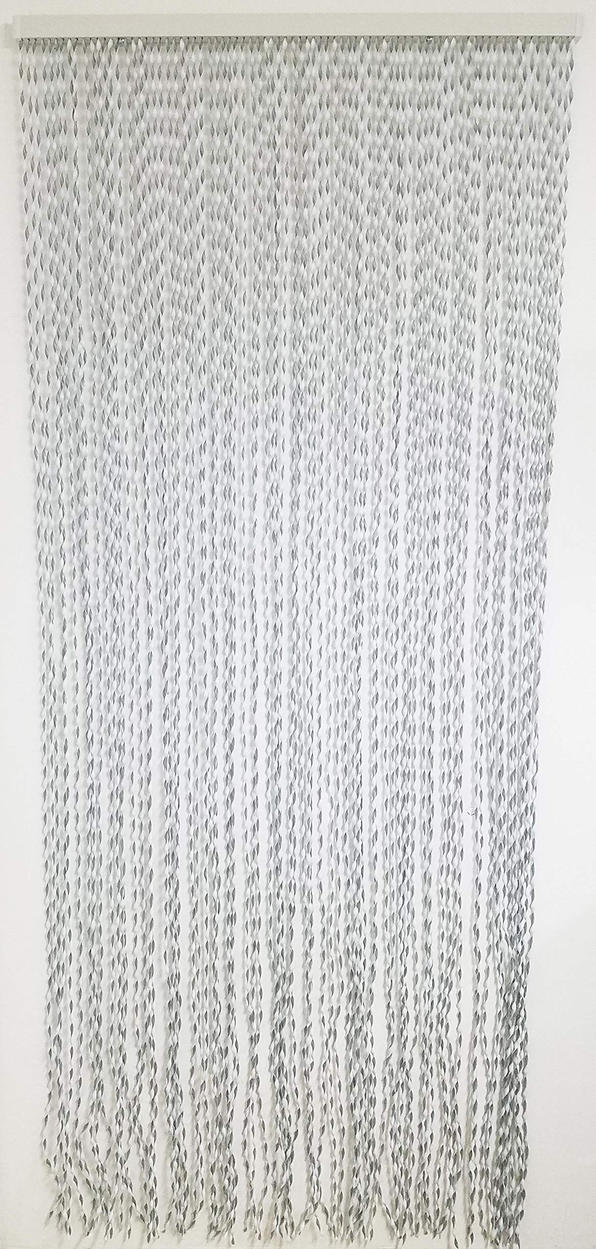 EVIDECO PVC Stripes Twisted Curtain Doorway 80 Strings Grey/White 82.7'' H x 35.5'' W, 82.7H x 35.5 Inch /210x90 cm,