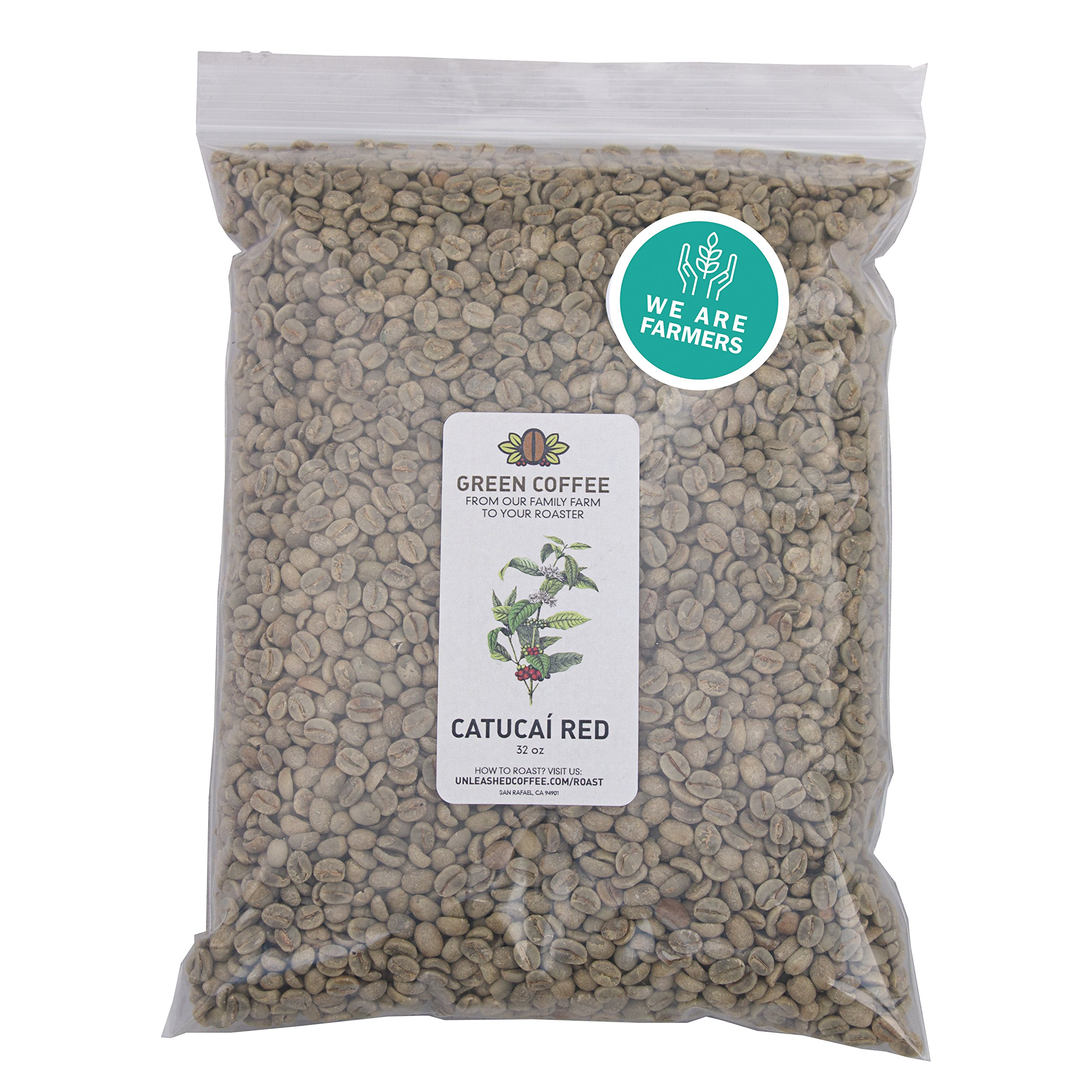 2lb Green Unroasted Coffee Brazil Catucai Red - From our family farm