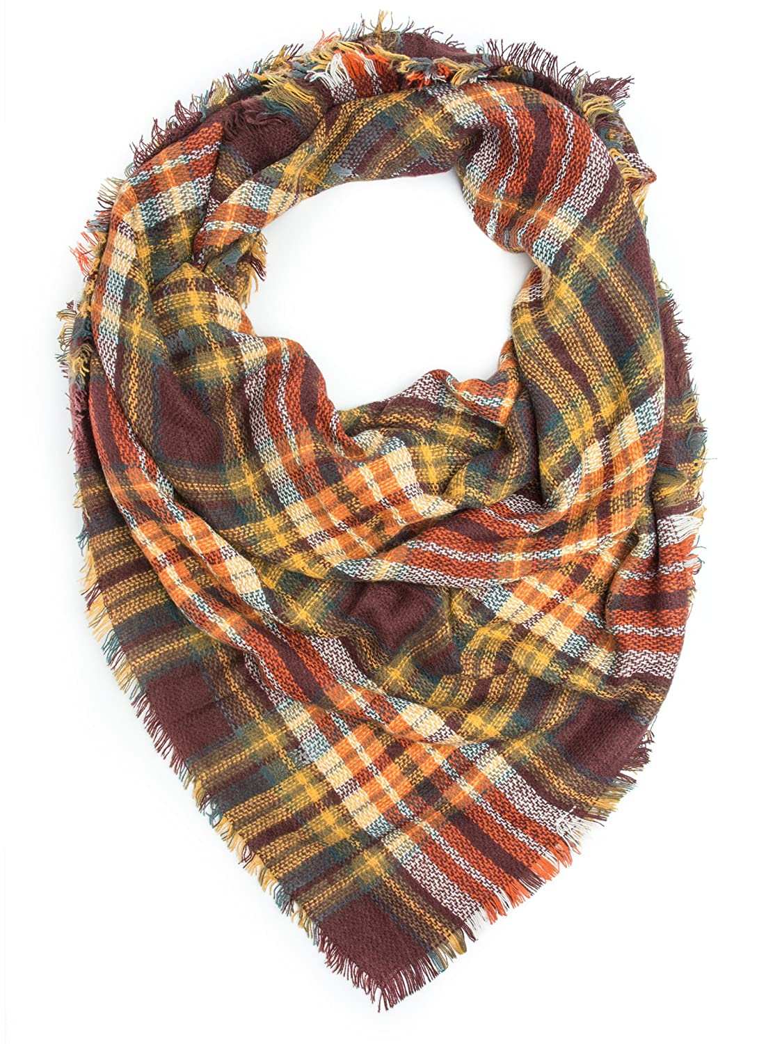 Vintage Scarves- New in the 1920s to 1960s Styles Bohomonde Moira Plaid Blanket Winter Scarf or Shawl $16.95 AT vintagedancer.com