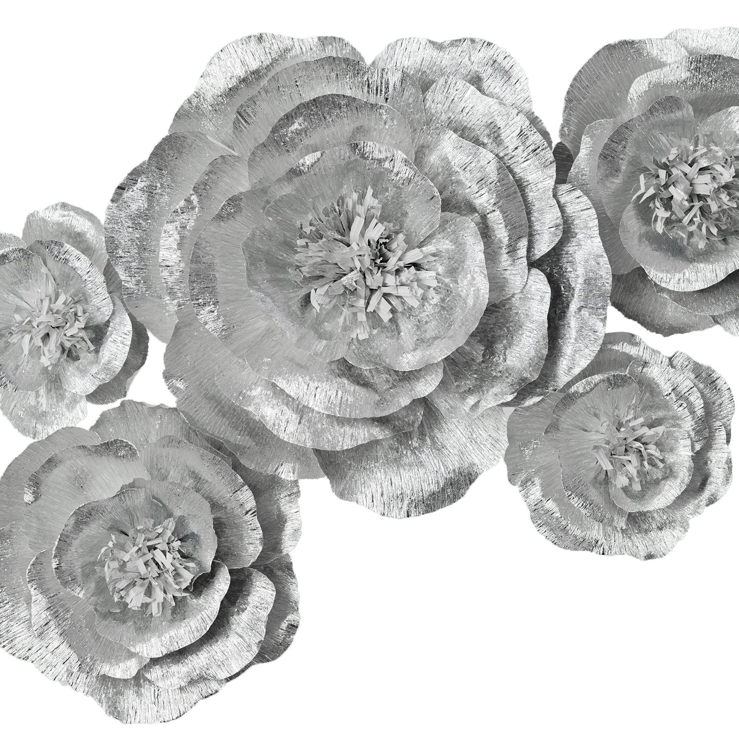 Paper Flower Decoration, Handcrafted Flowers, Crepe Paper Flowers Shiny Silver Set Of 5 For Wedding Backdrop, Baby Shower, Nursery Wall Decorations,Garden Party Photo Booth,Bridal Shower,Archway Decor