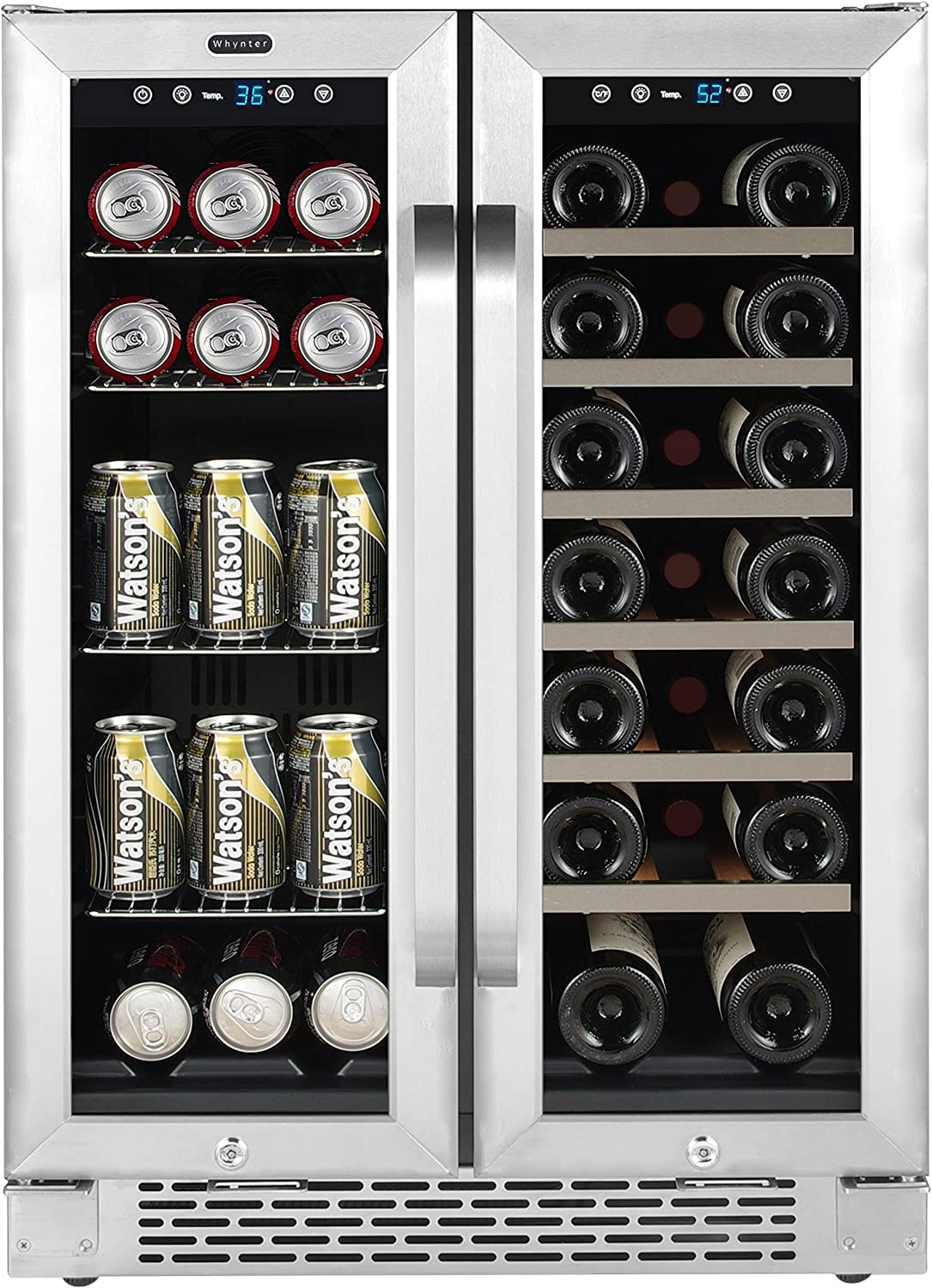 Whynter Cooler Bwb 2060fds 24 Built In French Door Dual Zone 20 Bottle Wine Refrigerator 60 Can Beverage Center Stainless Steel One Size Appliances