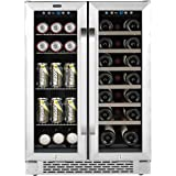 """Whynter Cooler BWB-2060FDS 24"""" Built-In French Door Dual Zone 20 Bottle Wine Refrigerator 60 Can Beverage Center, Stainless S"""