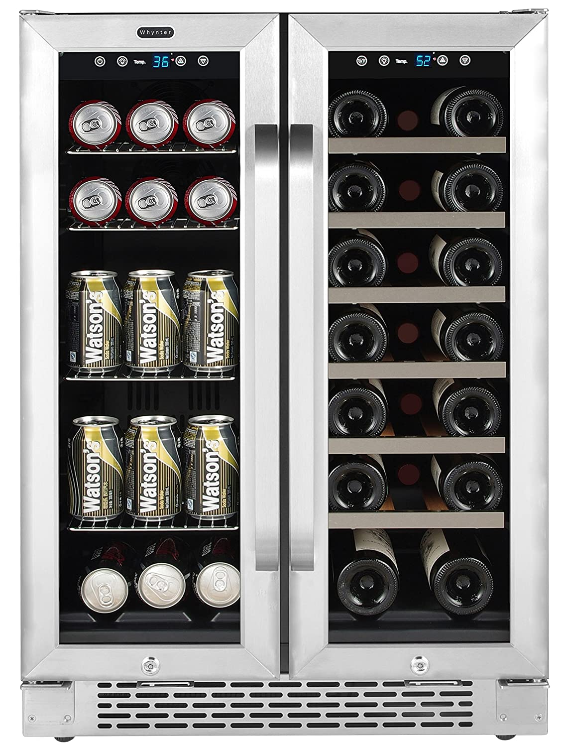 "Whynter Cooler BWB-2060FDS 24"" Built-in French Door Dual Zone 20 Bottle Wine Refrigerator 60 Can Beverage Center, Stainless Steel, One Size"