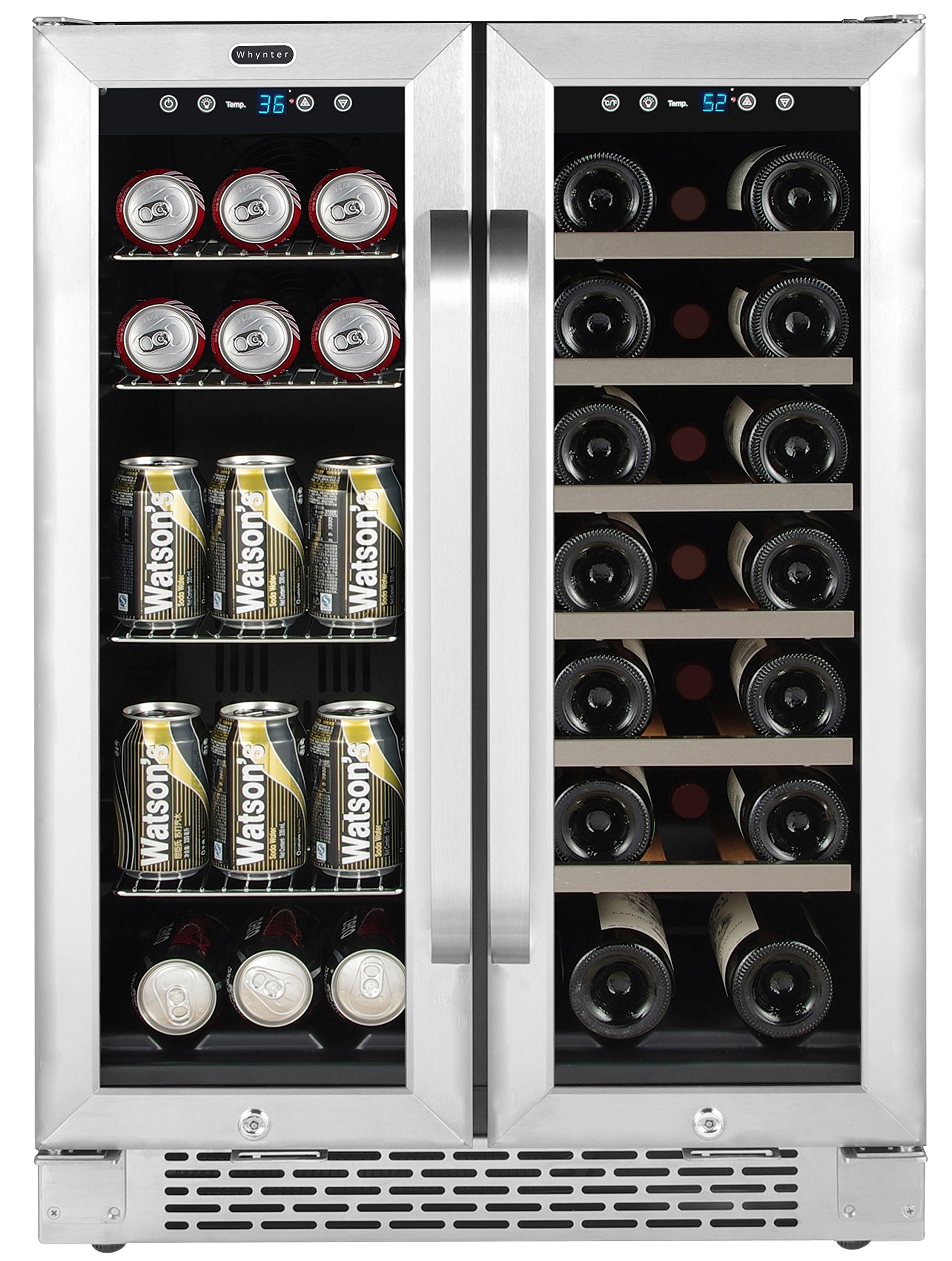Whynter Cooler BWB-2060FDS 24'' Built-in French Door Dual Zone 20 Bottle Wine Refrigerator 60 Can Beverage Center, Stainless Steel, One Size, by Whynter