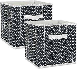 DII Non Woven Storage Collection Polyester Herringbone Bin, Small Set, 11x11x11 Cube, Black, 2 Piece