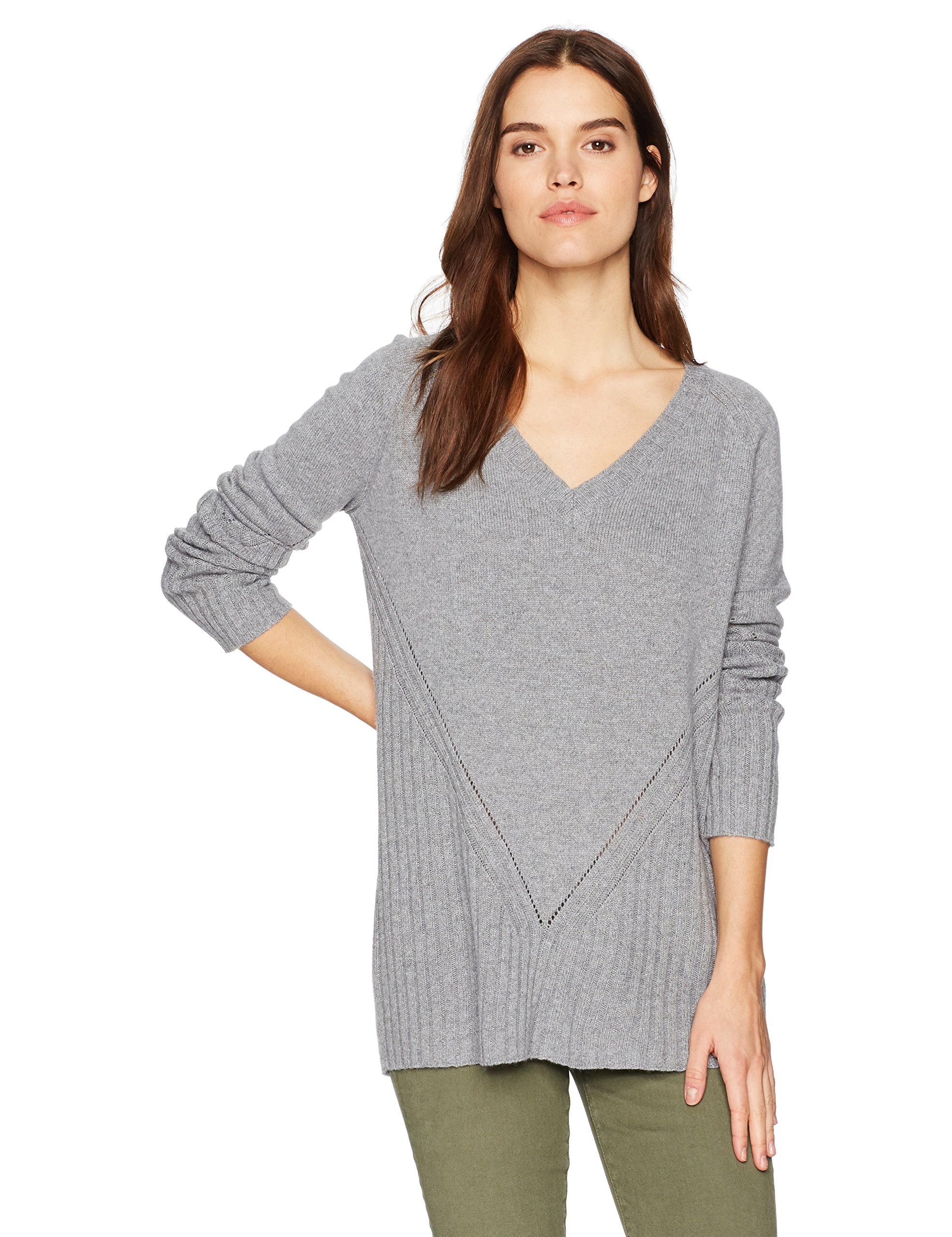 Three Dots Women's Pull Over Loose Long Sweater, Granite, Large