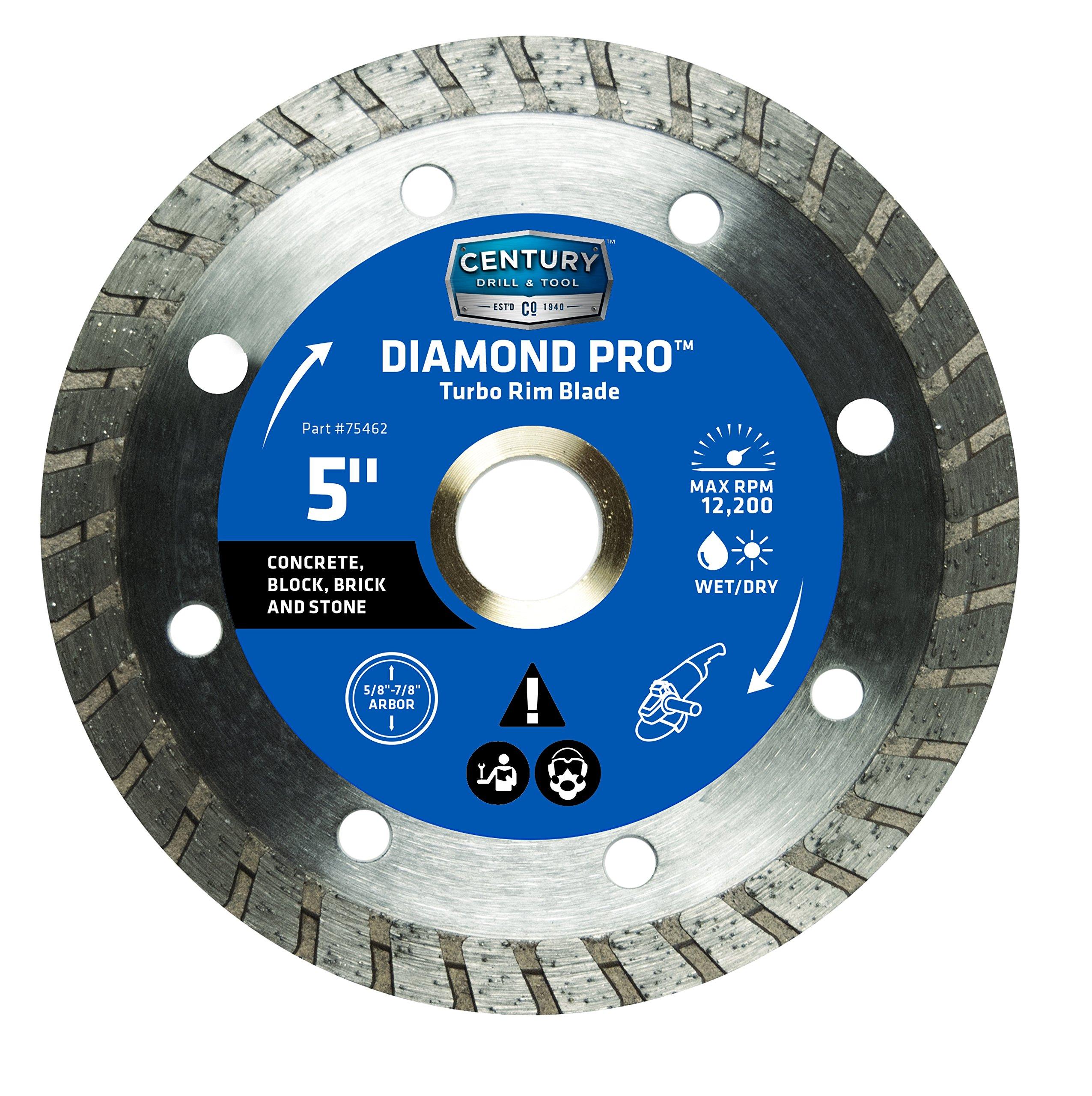 Century Drill and Tool 75462 Professional Turbo Rim Diamond Saw Blade, 5''