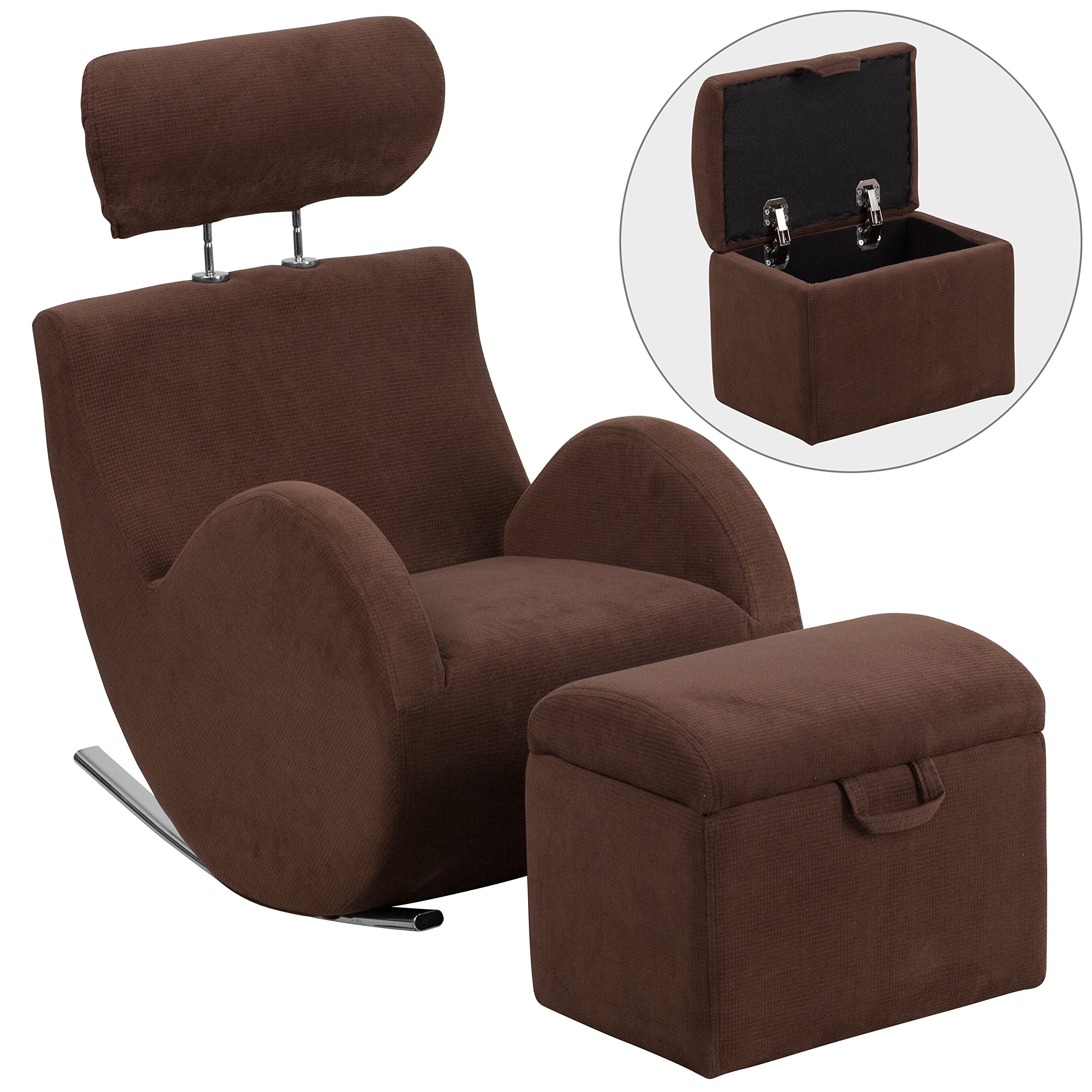 Flash Furniture HERCULES Series Brown Fabric Rocking Chair with Storage Ottoman by Flash Furniture