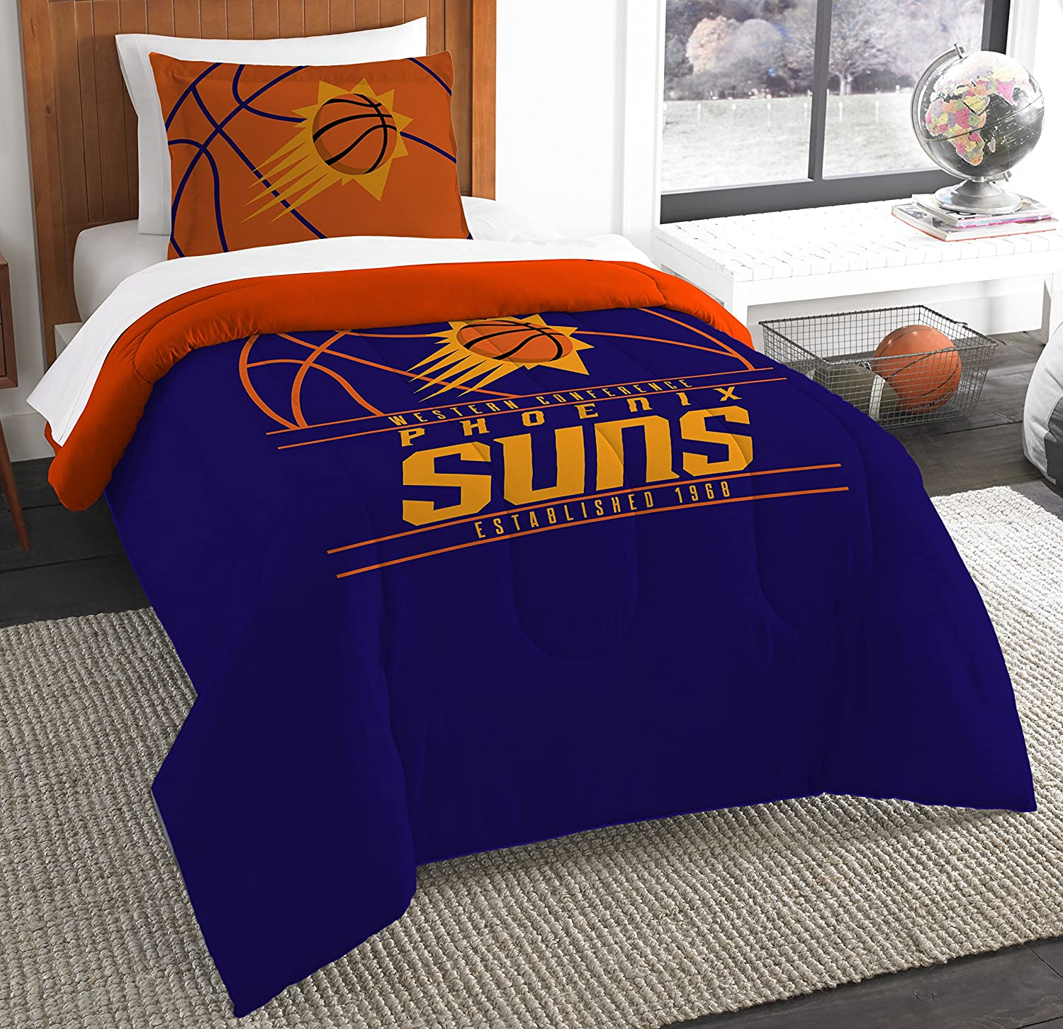 The Northwest Company Officially Licensed NBA Phoenix Suns Reverse Slam Twin Comforter and Sham