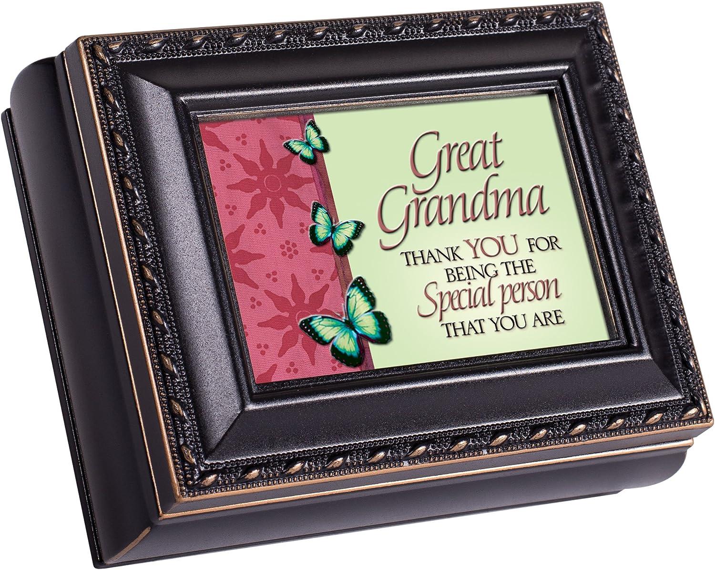 Cottage Garden Great Grandma Thank You Black Rope Trim Tiny Square Jewelry and Keepsake Box