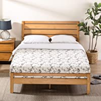 Zinus Aimee Traditional Double Bed Frame | Pine Wood Platform with Headboard