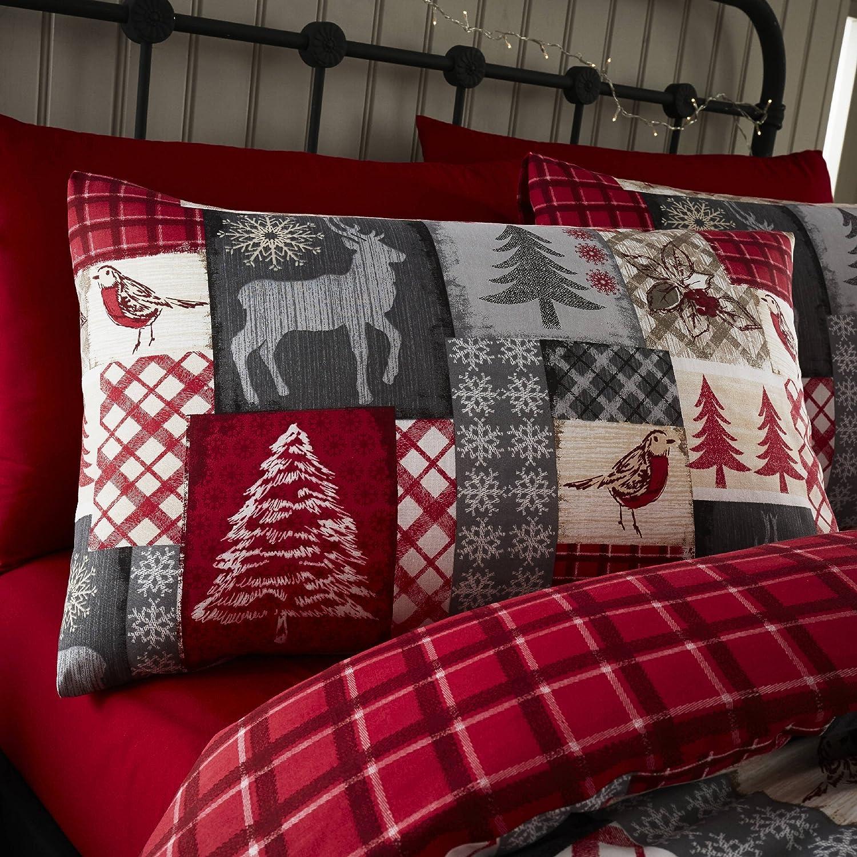 Rojo Happy Linen Company Christmas Patchwork Estampado navide/ño Grande Manta de Franela con Reverso de Forro Polar